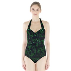 Abstract Art Background Green Halter Swimsuit
