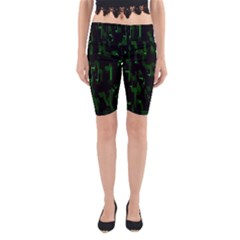 Abstract Art Background Green Yoga Cropped Leggings