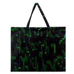 Abstract Art Background Green Zipper Large Tote Bag