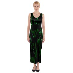 Abstract Art Background Green Fitted Maxi Dress