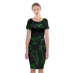 Abstract Art Background Green Classic Short Sleeve Midi Dress