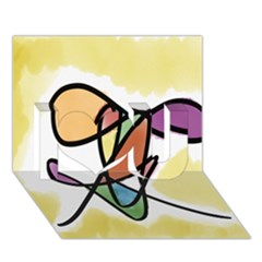 Art Abstract Exhibition Colours I Love You 3D Greeting Card (7x5)