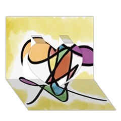 Art Abstract Exhibition Colours Heart 3D Greeting Card (7x5)
