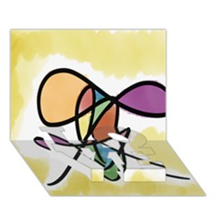 Art Abstract Exhibition Colours LOVE Bottom 3D Greeting Card (7x5)