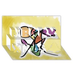 Art Abstract Exhibition Colours Merry Xmas 3D Greeting Card (8x4)