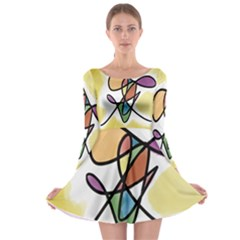 Art Abstract Exhibition Colours Long Sleeve Skater Dress