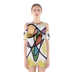 Art Abstract Exhibition Colours Cutout Shoulder Dress