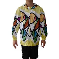 Art Abstract Exhibition Colours Hooded Wind Breaker (Kids)