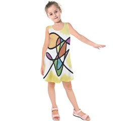 Art Abstract Exhibition Colours Kids  Sleeveless Dress