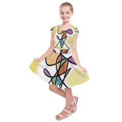 Art Abstract Exhibition Colours Kids  Short Sleeve Dress
