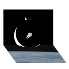 Astronaut Floating Above The Blue Planet Circle 3D Greeting Card (7x5)
