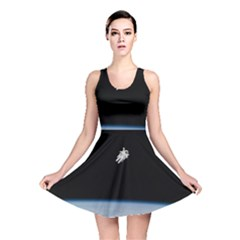 Astronaut Floating Above The Blue Planet Reversible Skater Dress