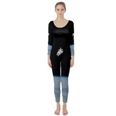 Astronaut Floating Above The Blue Planet Long Sleeve Catsuit