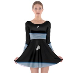 Astronaut Floating Above The Blue Planet Long Sleeve Skater Dress