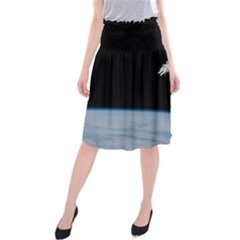 Astronaut Floating Above The Blue Planet Midi Beach Skirt