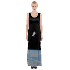 Astronaut Floating Above The Blue Planet Maxi Thigh Split Dress
