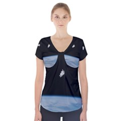 Astronaut Floating Above The Blue Planet Short Sleeve Front Detail Top