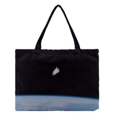 Astronaut Floating Above The Blue Planet Medium Tote Bag
