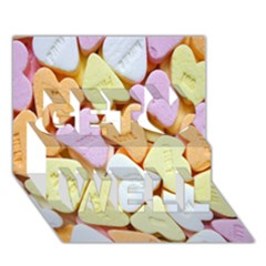 Candy Pattern Get Well 3D Greeting Card (7x5)