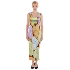 Candy Pattern Fitted Maxi Dress