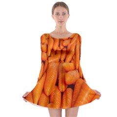 Carrots Vegetables Market Long Sleeve Skater Dress