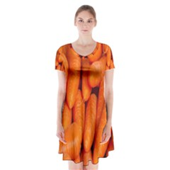 Carrots Vegetables Market Short Sleeve V-neck Flare Dress