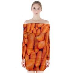 Carrots Vegetables Market Long Sleeve Off Shoulder Dress