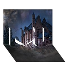 Castle Mystical Mood Moonlight  I Love You 3D Greeting Card (7x5)