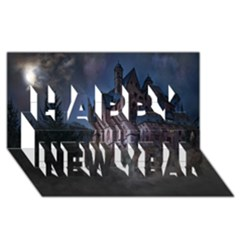 Castle Mystical Mood Moonlight  Happy New Year 3D Greeting Card (8x4)
