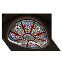 Church Window Window Rosette Twin Heart Bottom 3D Greeting Card (8x4)