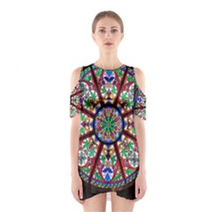 Church Window Window Rosette Cutout Shoulder Dress