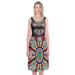 Church Window Window Rosette Midi Sleeveless Dress