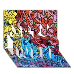 Colorful Graffiti Art Get Well 3D Greeting Card (7x5)