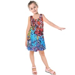 Colorful Graffiti Art Kids  Sleeveless Dress