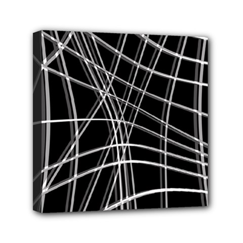 Black and white warped lines Mini Canvas 6  x 6