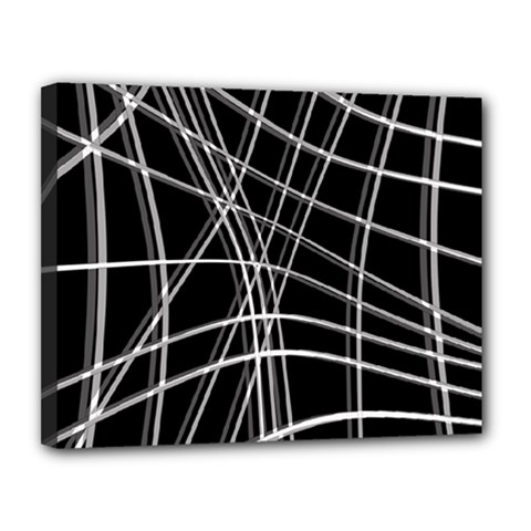 Black and white warped lines Canvas 14  x 11