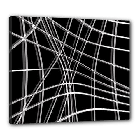 Black and white warped lines Canvas 24  x 20
