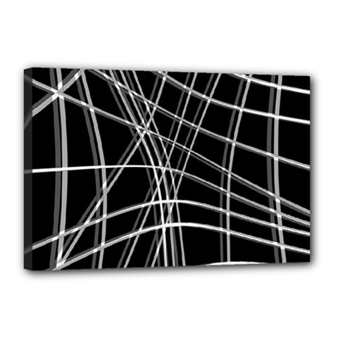 Black and white warped lines Canvas 18  x 12