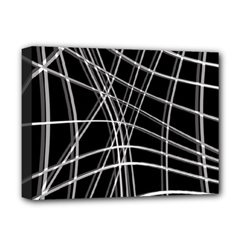 Black and white warped lines Deluxe Canvas 16  x 12