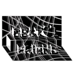 Black and white warped lines Best Friends 3D Greeting Card (8x4)