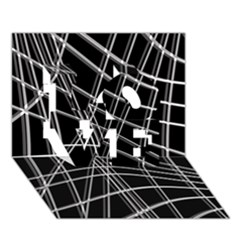 Black and white warped lines LOVE 3D Greeting Card (7x5)