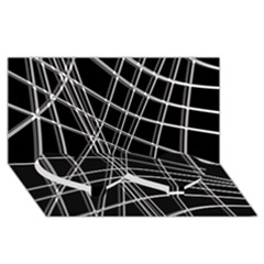 Black and white warped lines Twin Heart Bottom 3D Greeting Card (8x4)
