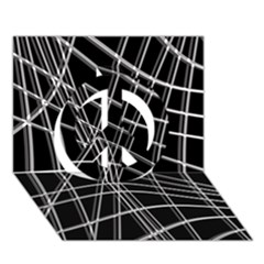 Black and white warped lines Peace Sign 3D Greeting Card (7x5)