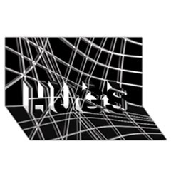 Black and white warped lines HUGS 3D Greeting Card (8x4)
