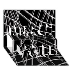 Black and white warped lines Miss You 3D Greeting Card (7x5)