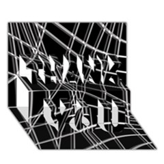Black and white warped lines THANK YOU 3D Greeting Card (7x5)