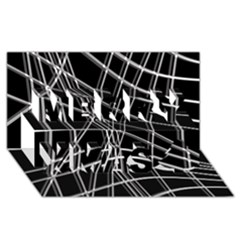 Black and white warped lines Merry Xmas 3D Greeting Card (8x4)