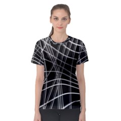 Black and white warped lines Women s Sport Mesh Tee
