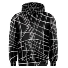 Black and white warped lines Men s Pullover Hoodie