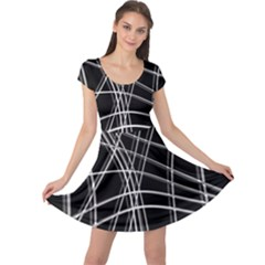 Black and white warped lines Cap Sleeve Dresses